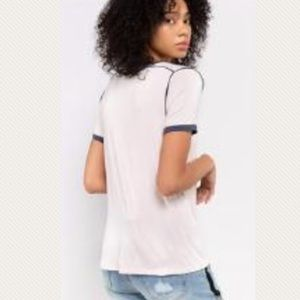 The Perfect Ringer Tee Raw Hem Neckline and Cuffs